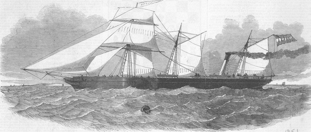 Associate Product LONDON. & Rotterdam ship, Apollo, antique print, 1851