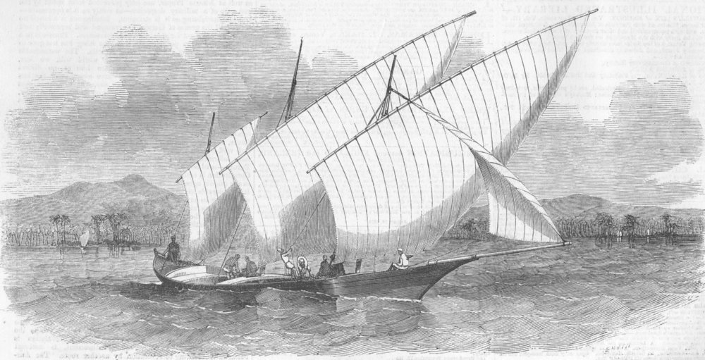 Associate Product INDIA. Pleasure-boat of Rajah Johore, antique print, 1851