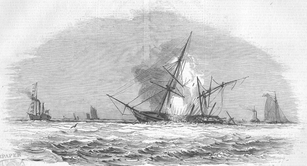 Associate Product SUSSEX. Capt Warner's Test, Brighton. Explosion, antique print, 1844