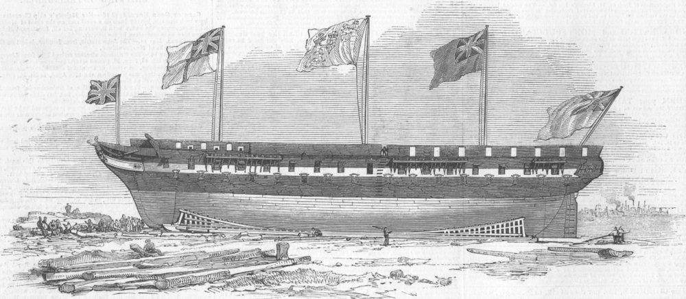 Associate Product LONDON. Launch, Monarch, East Indiaman, Blackwall, antique print, 1844