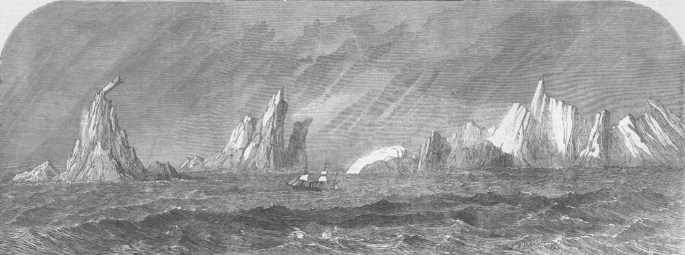 CHILE. Gt Britain among icebergs Cape Horn, antique print, 1864