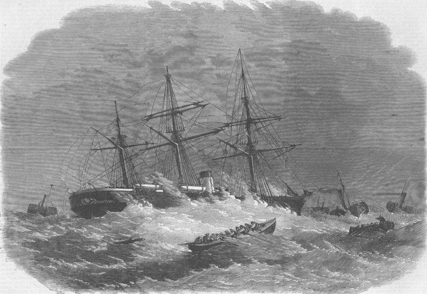Associate Product NORFOLK. Ship aground, Haisborough Sands, Yarmouth, antique print, 1864
