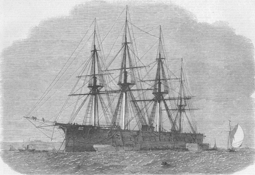 Associate Product KENT. Ship Achilles, Folly point, Chatham, antique print, 1864