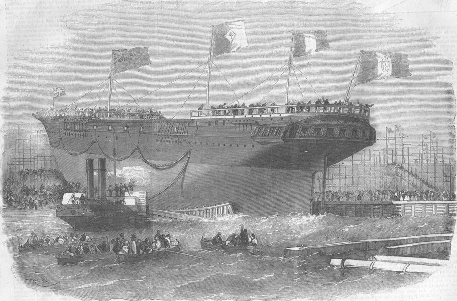 Associate Product LONDON. Launch. Torino, Blackwall, antique print, 1856