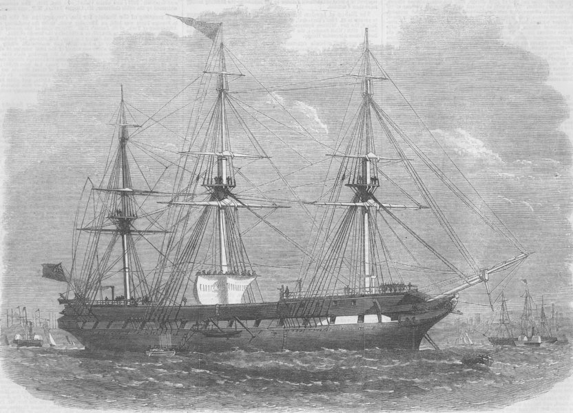 Associate Product LANCS. Liverpool training-ship, Indefatigable, antique print, 1856