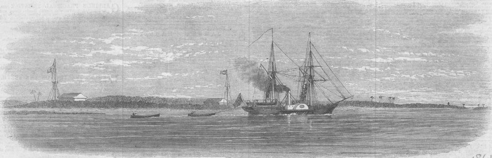 Associate Product MOZAMBIQUE. Livingstone's expedition, Kongone River, antique print, 1861