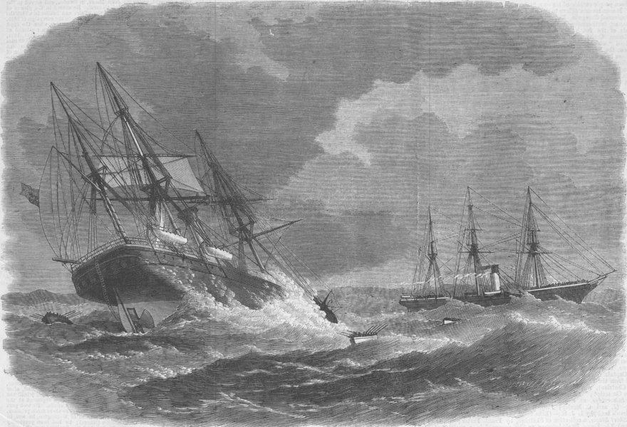 Associate Product FRANCE. Laconia rescuing crew of Amalia, Bay Biscay, antique print, 1866