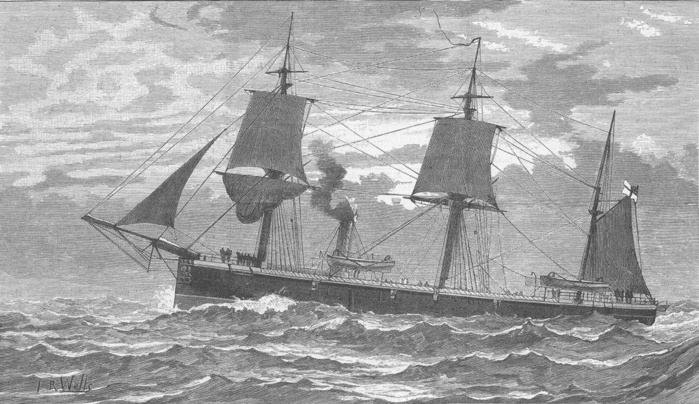 Associate Product CHILE. Magellan Strait. HMS Doterel, blown up , antique print, 1881