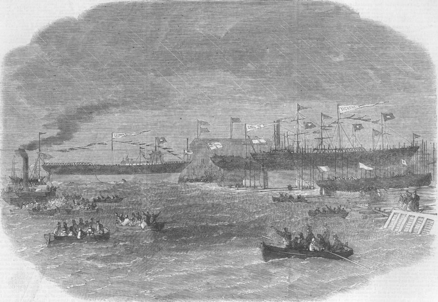 YORKS. Launch. ships from, Samuelson's Yd, antique print, 1863