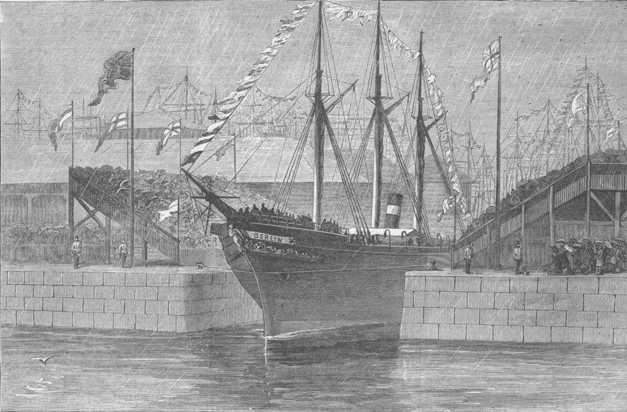 Associate Product SCOTLAND. Opening new Edinburgh dock, Leith, antique print, 1881
