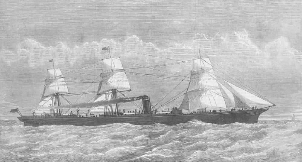 Associate Product GERMANY. Inman Atlantic Ship Berlin, antique print, 1875