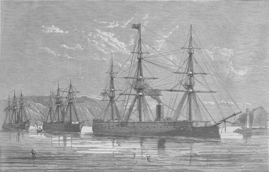 Associate Product PLYMOUTH. Departure of Prussian Ironclads from , antique print, 1870