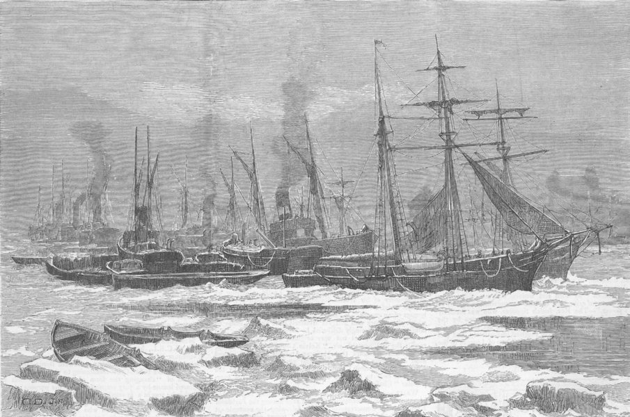 Associate Product LONDON. Frost-Floating ice, Thames, Custom House Quay, antique print, 1879