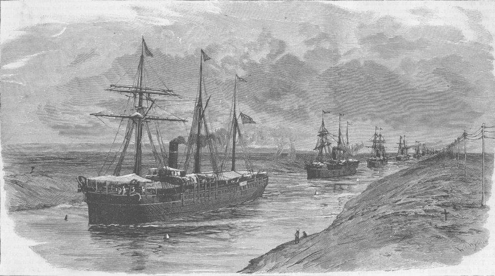 Associate Product SUEZ. Canal. block, parade of ships after unblock, antique print, 1885