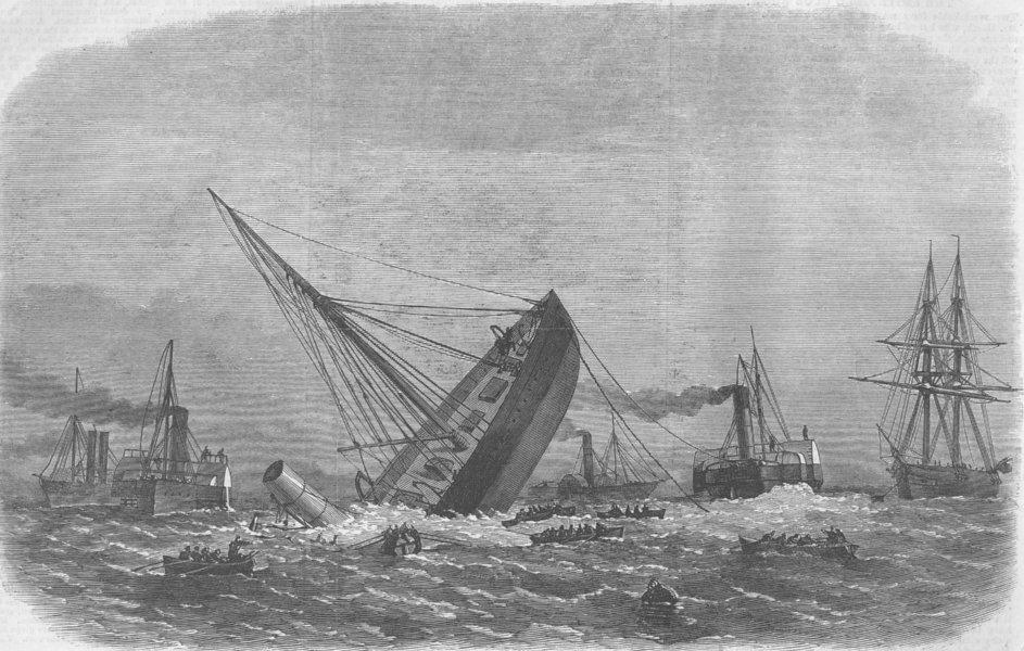 Associate Product LANCS. Greek warship Bouboulina wreck, Liverpool, antique print, 1867