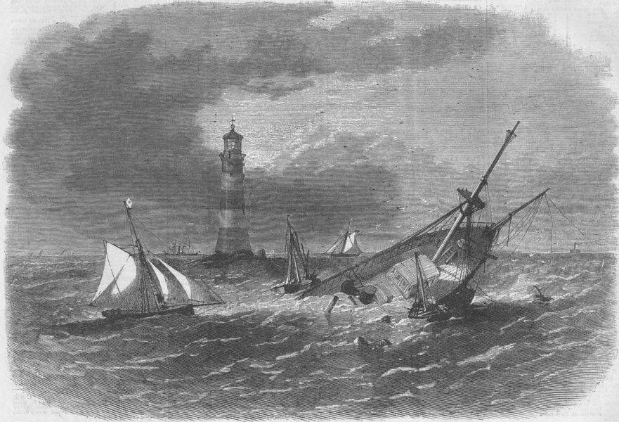 Associate Product DEVON. Wreck of Ship Hiogo, Eddystone, rocks, antique print, 1867