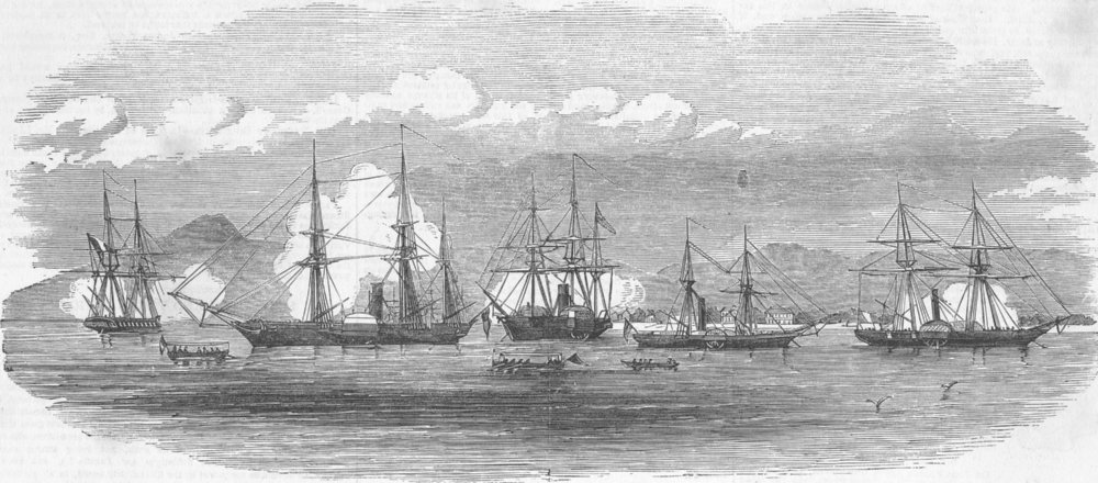 Associate Product HAITI. English & French ships, harbour of Gonaive, antique print, 1851