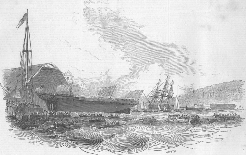 Associate Product DEVON. Launch. Avenger, ship, Devonport, antique print, 1845