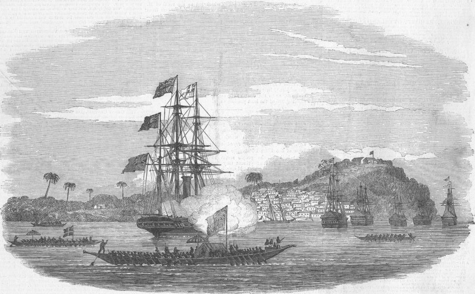 Associate Product NIGERIA. Ephraim town, Calabar-King Eyo-Honesty boat, antique print, 1850