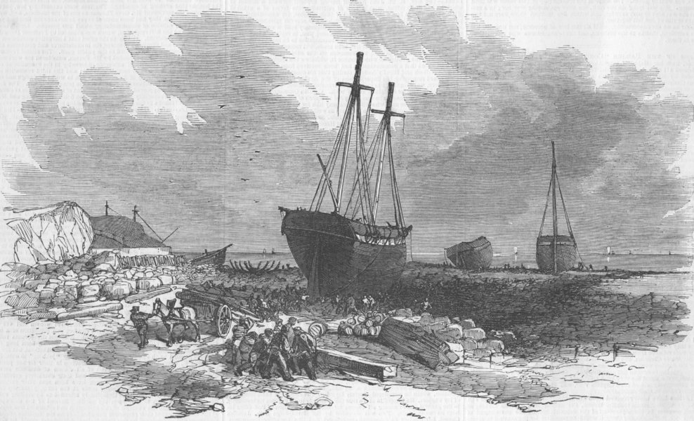 Associate Product NORTHUMBS. Wrecks, rocks, Tynemouth, antique print, 1850