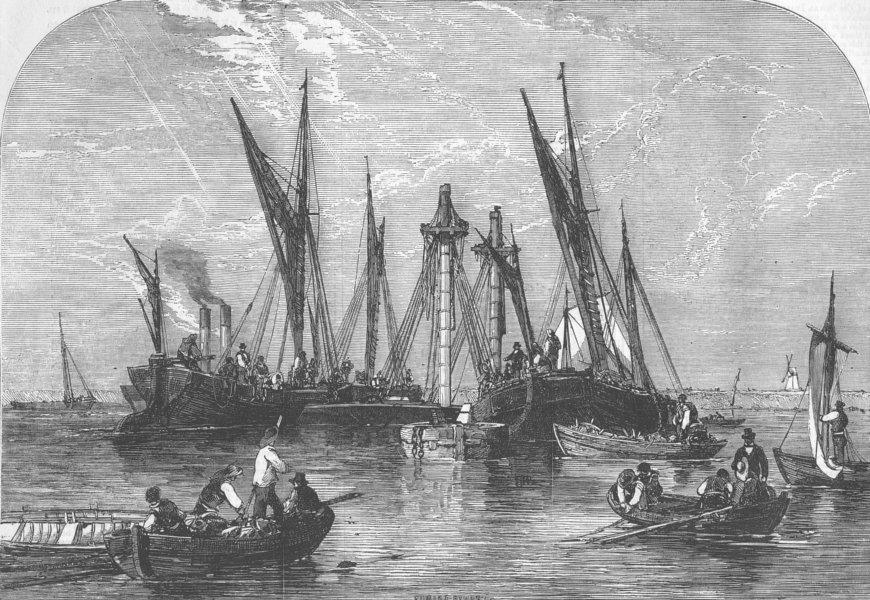 Associate Product LONDON. Raising of ship Samuel, Thames, antique print, 1855