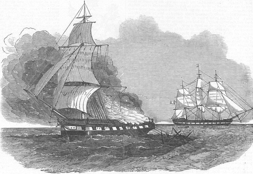 Associate Product INDIA. ship British Merchant, ablaze, antique print, 1853