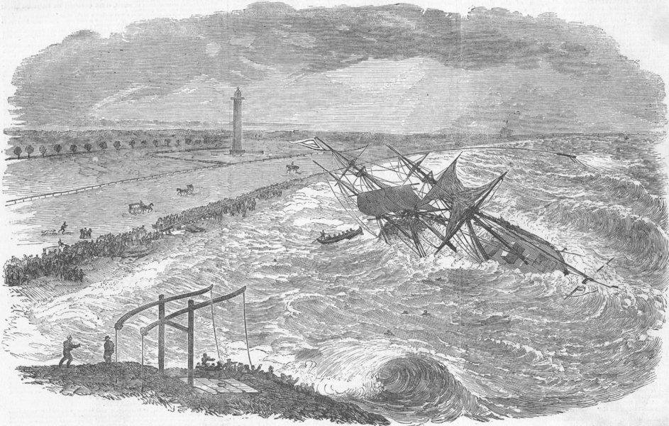 Associate Product INDIA. Wreck of ship Successor, Chennai roads, antique print, 1853