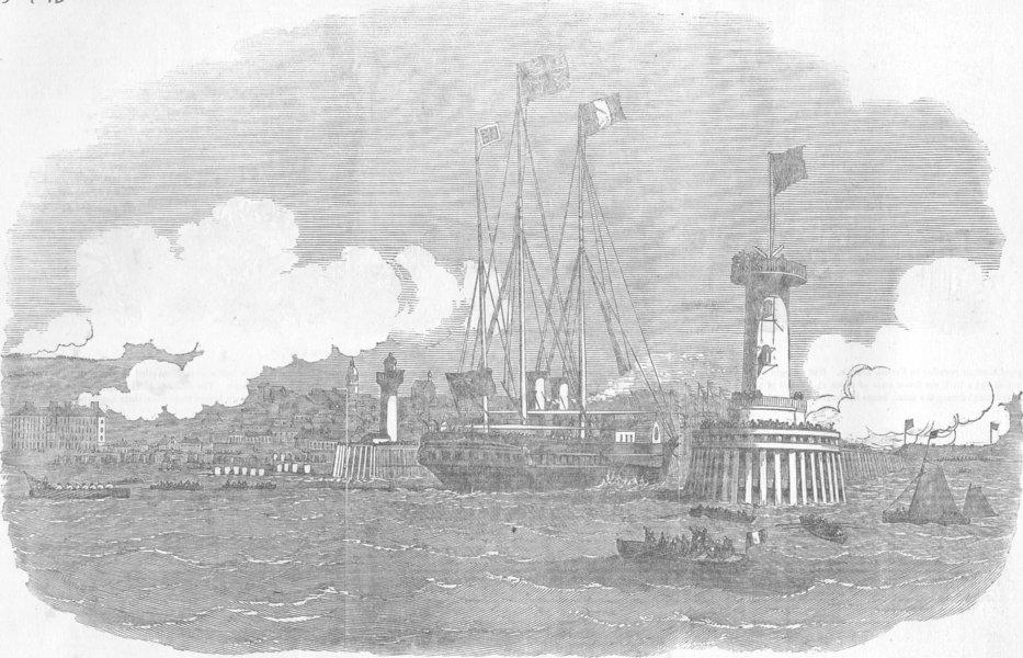 Associate Product FRANCE. Queen's Yacht, Boulogne Harbour, antique print, 1855