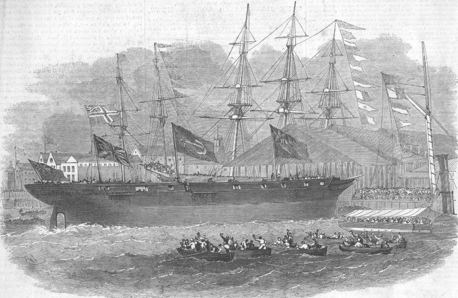 Associate Product LONDON. Launch. war-ship, Limehouse docks, antique print, 1855
