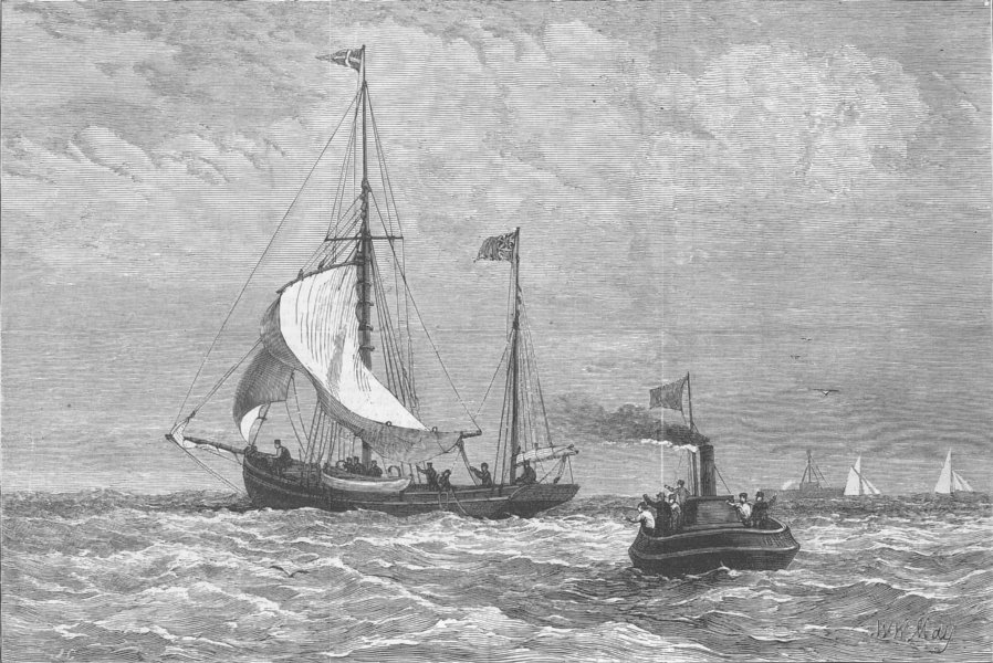 Associate Product ARCTIC. Yacht Kara, to search for Leigh Smith, antique print, 1882