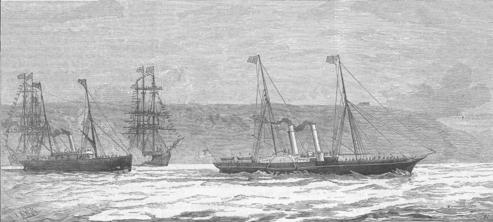 Associate Product PLYMOUTH. US warships saluting Duke of Edinburgh, antique print, 1882