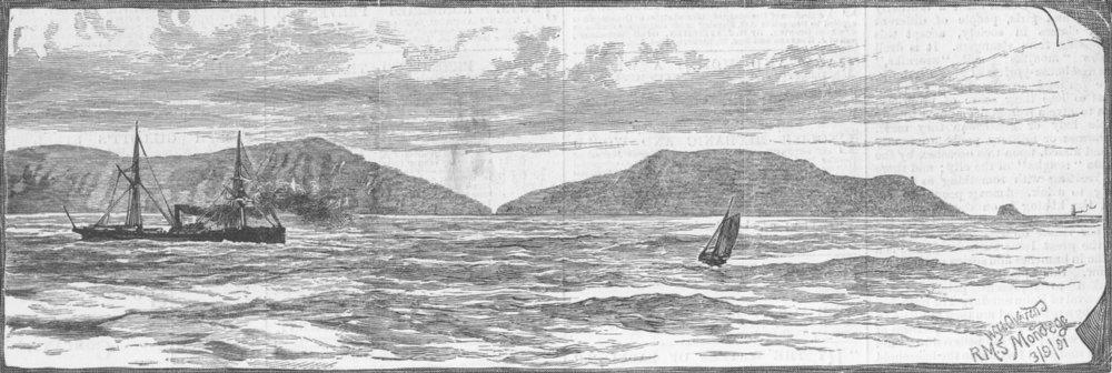 Associate Product FINISTERRE. Cape , where Royal Mail ship Douro sank, antique print, 1882