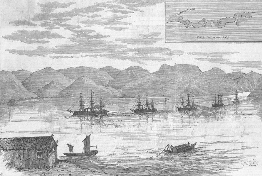 Associate Product JAPAN. Fleet, Inland Sea narrows, antique print, 1882