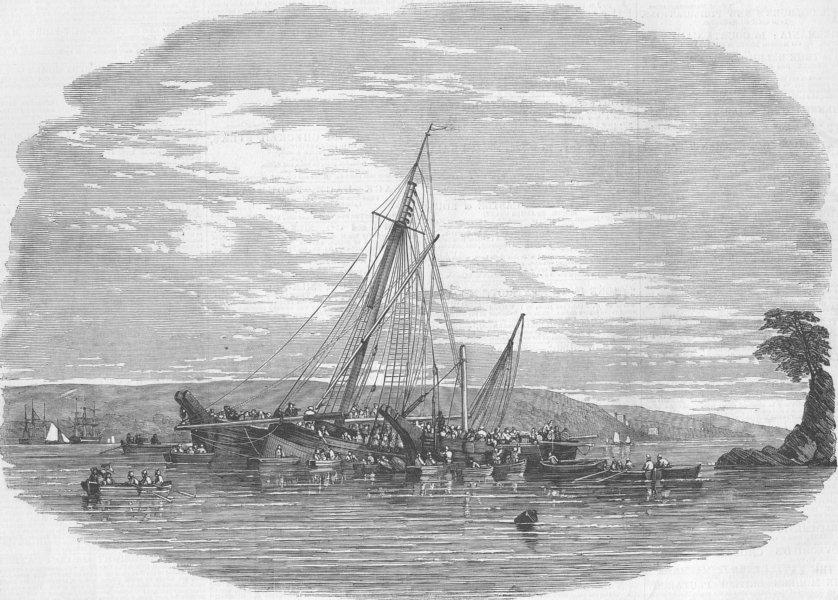 CORNWALL. Alarm Yacht ashore, Barn Pool, antique print, 1850