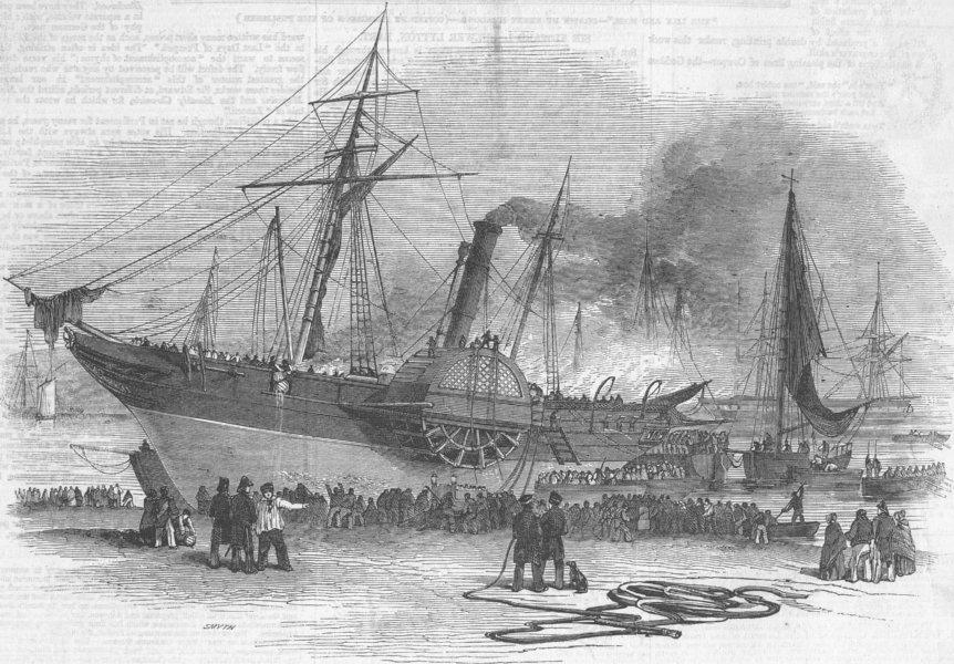 Associate Product DEVON. Shannon ship ablaze, Plymouth, antique print, 1846