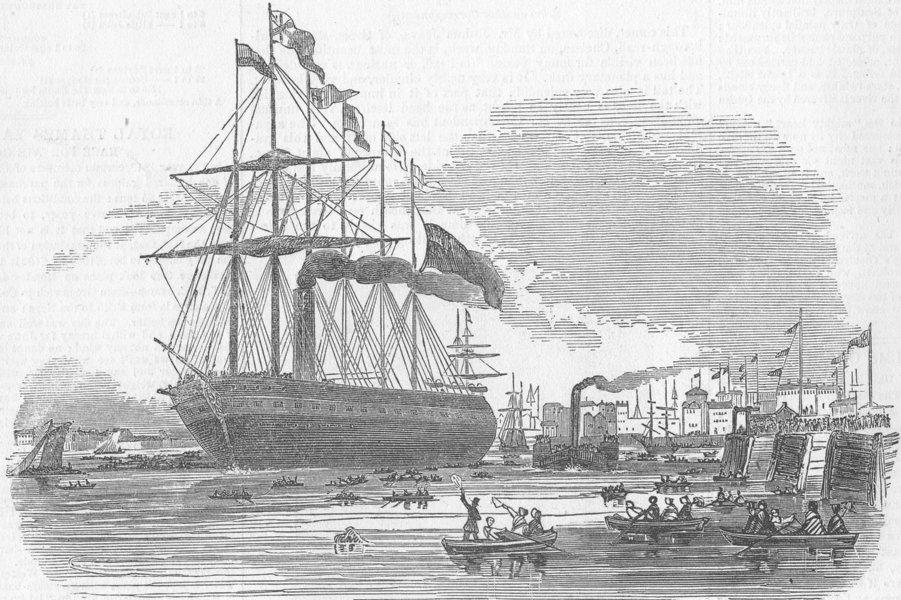 Associate Product LONDON. Gt Britain Ship, Blackwall, antique print, 1845