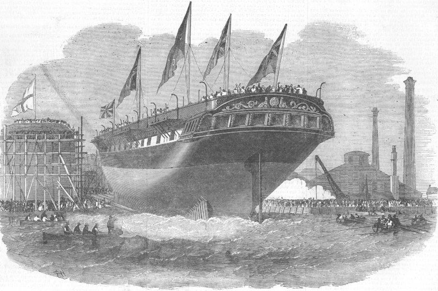 Associate Product LONDON. Launch. Ship Croesus, Blackwall, antique print, 1853