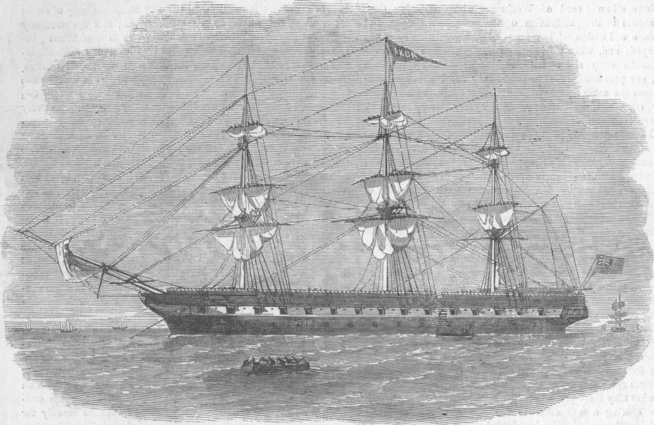 Associate Product LIVERPOOL. school ship Akbar, for young offenders, antique print, 1856