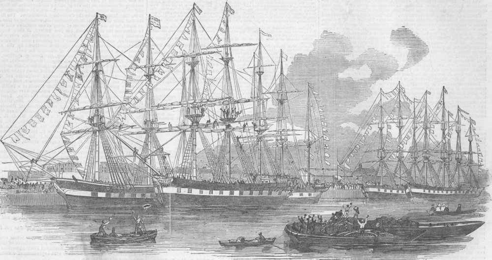 Associate Product LONDON. Canterbury Assn ships, East india docks, antique print, 1851