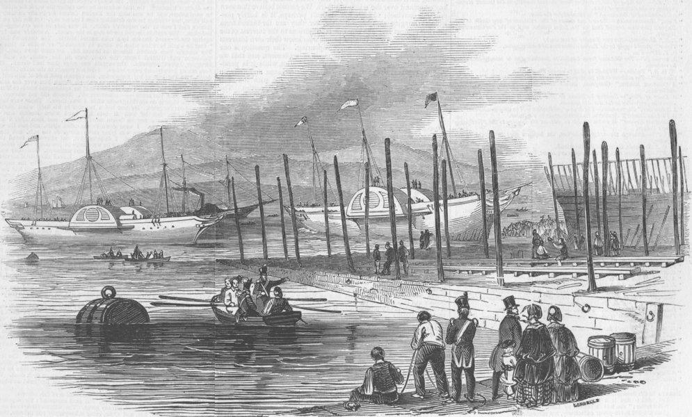 Associate Product LANCS. Double launch. ships, Liverpool, antique print, 1846