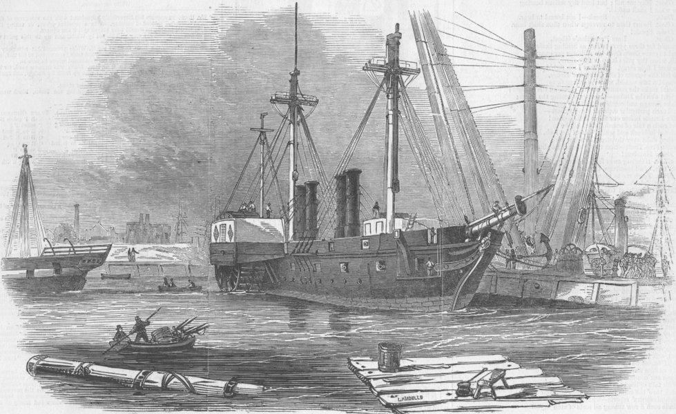 Associate Product LONDON. Woolwich docks. Terrible, war-ship, Basin , antique print, 1846