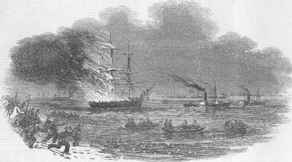 Associate Product LONDON. Burning of ship Henry, Blackwall, antique print, 1845