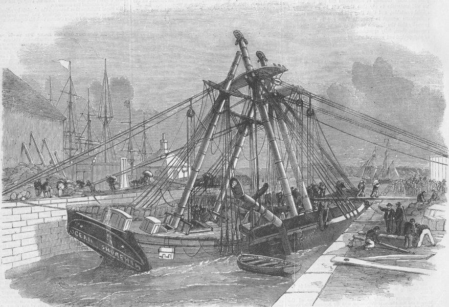 Associate Product LONDON. Accident, East india docks, Blackwall, antique print, 1858