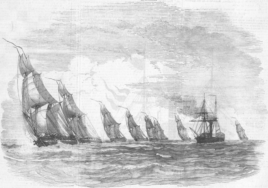 Associate Product MILITARIA. Experimental Brig fleet, antique print, 1844