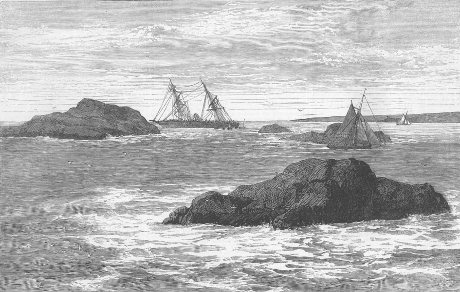 Associate Product FRANCE. Wreck of Boyne, Molene, Brest, antique print, 1853