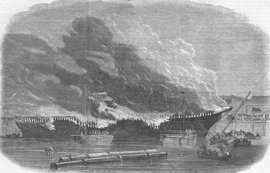 Associate Product LIVERPOOL. Burning of James Baines, Huskisson Dock, antique print, 1858
