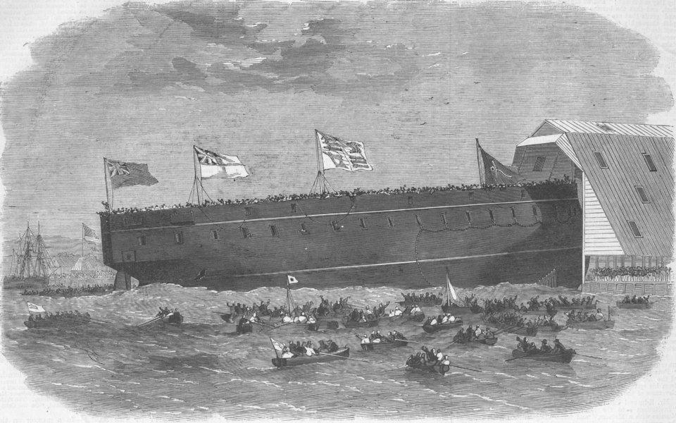Associate Product DEVON. Launch. HM ironclad ship ocean, Devonport, antique print, 1863