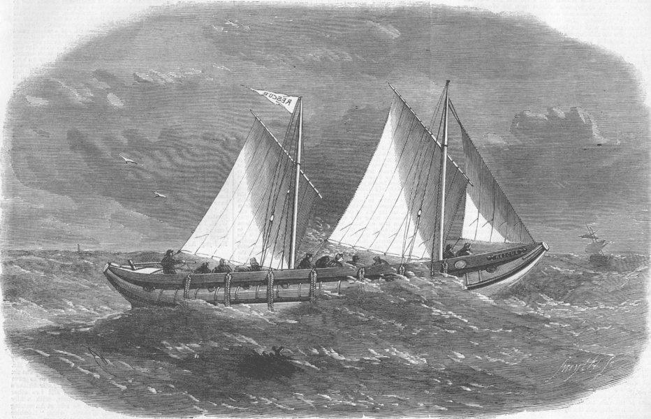 Associate Product LANCS. Liverpool tubular lifeboat rescue, antique print, 1863