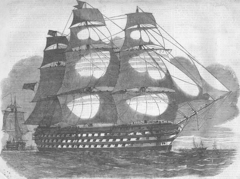 Associate Product SHIPS. Duke of Wellington, Baltic flagship, Dundas, antique print, 1855