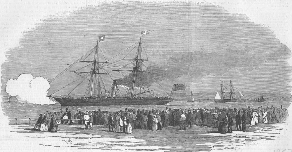 Associate Product LONDON. Ship, Blackwall with Navvies for Crimea, antique print, 1857